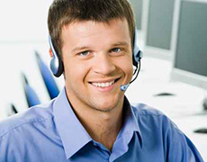 Smiling white collar worker with headset